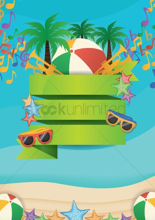 Trumpets : Summer beach party concept with empty banner