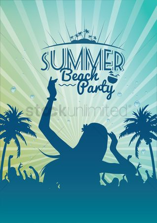 Vectors : Summer beach party