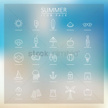 Slippers : Summer icon set