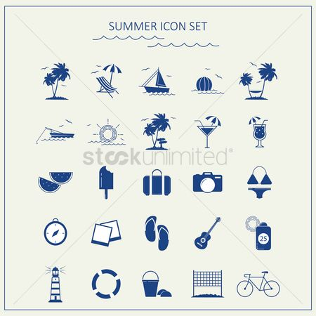 Swimsuit : Summer icon set
