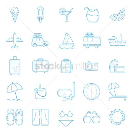 Aeroplanes : Summer icon set