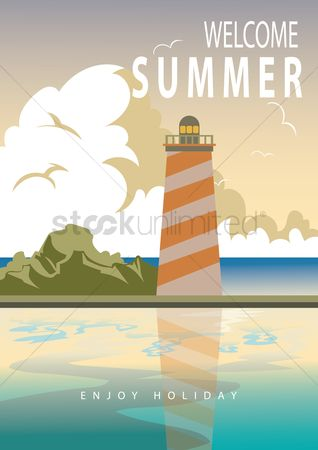 Lighthouses : Summer poster design