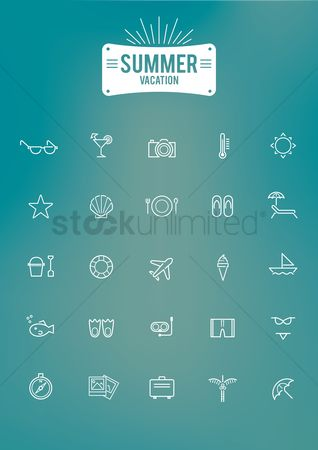 Starfishes : Summer vacation icon set