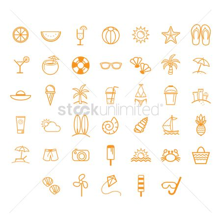 Starfishes : Summer vacation icons