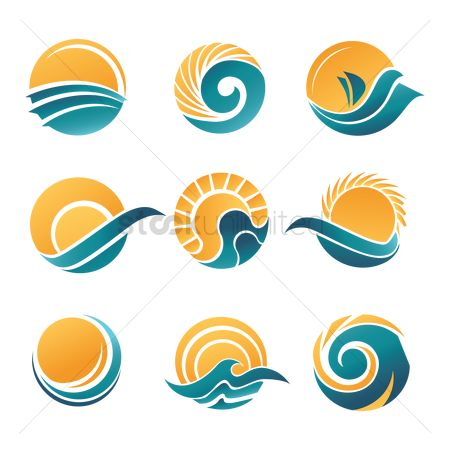 Trendy : Sun and sea icons