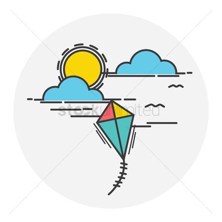 Animal : Sun with clouds and flying kite