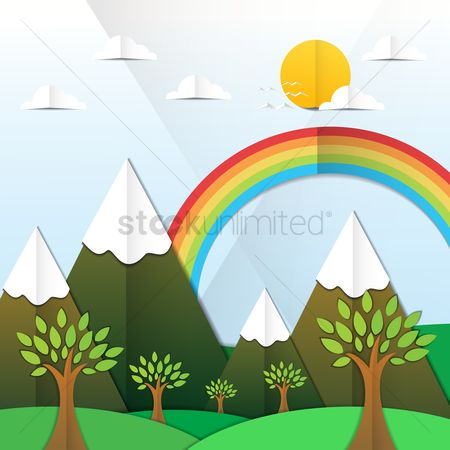 Rainbows : Sunny day landscape