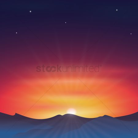 Mountains : Sunset background