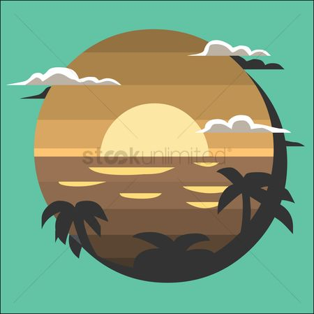 Sunray : Sunset view with palm trees