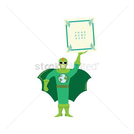 Agents : Superhero holding placard