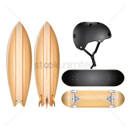 Skateboard : Surfboard  skateboard and helmet
