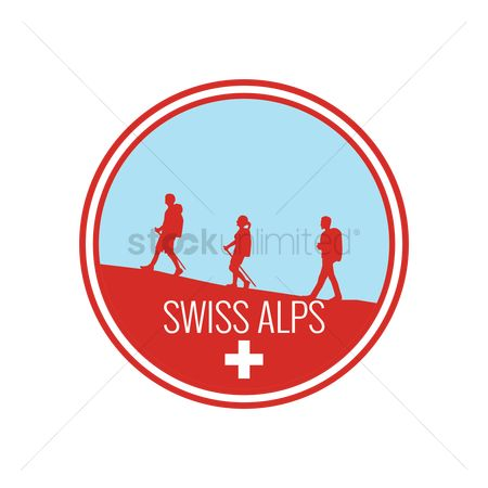 Hiking : Swiss alps label design