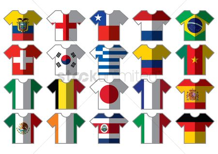 England : T-shirts with flags design