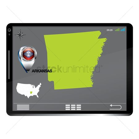 Arkansas : Tablet pc with arkansas map