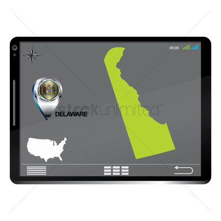 Delaware : Tablet pc with delaware map