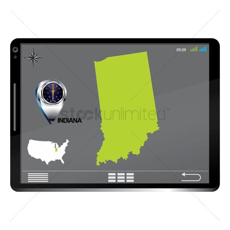 Indiana : Tablet pc with indiana map
