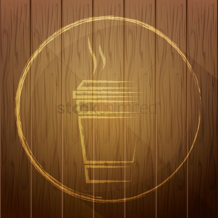 Take away cup : Takeaway cup on wooden background