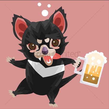 Pub : Tasmanian devil with a beer mug