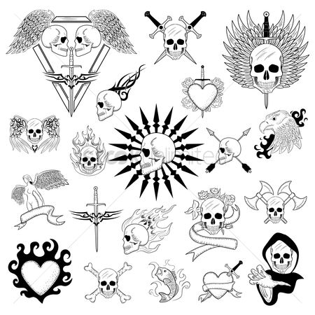 Hawks : Tattoo design set