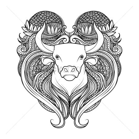 Horoscopes : Taurus zodiac intricate design