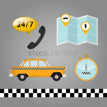 Taxis : Taxi and customer service set