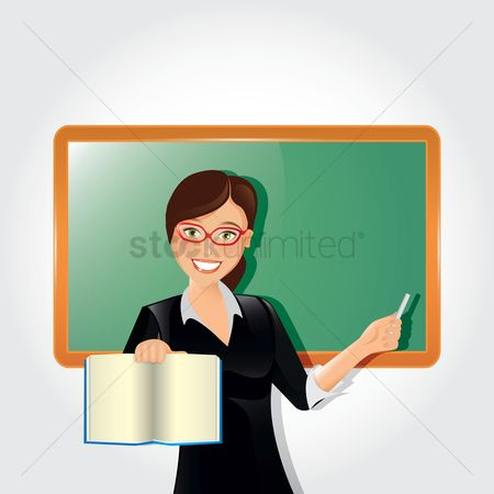 Teacher : Teacher with book and chalk
