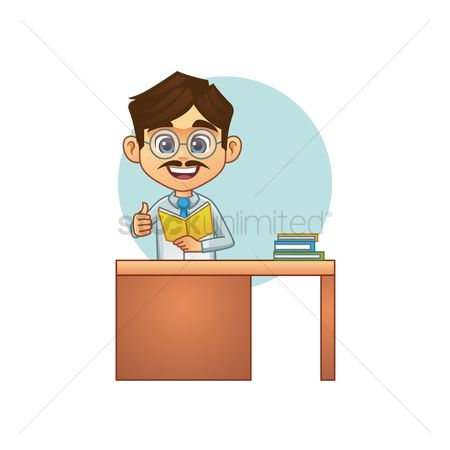 Teaching : Teacher with his thumb up at desk