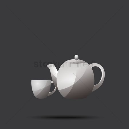 Crockery : Teapot with cup