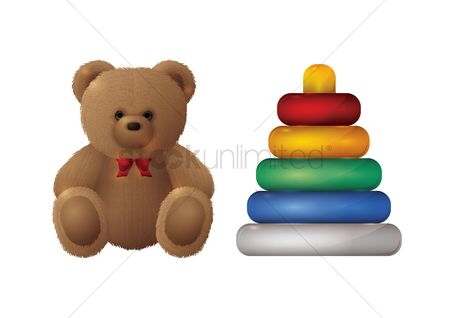 Play kids : Teddy bear and toy pyramid