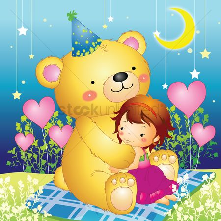 Teddybear : Teddy bear hugging a girl