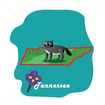 Tennessee : Tennessee state map with iris