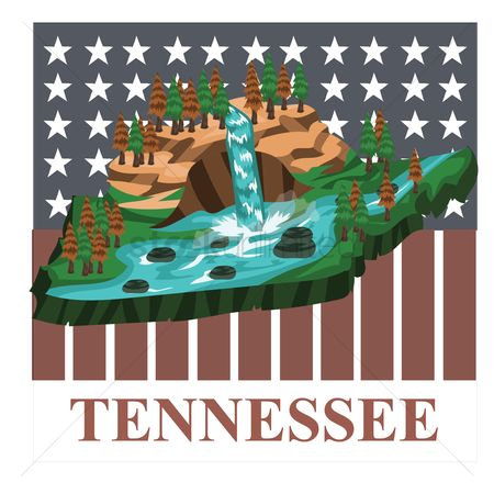 Waterfalls : Tennessee state map