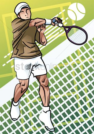 Tennis ball : Tennis player in action