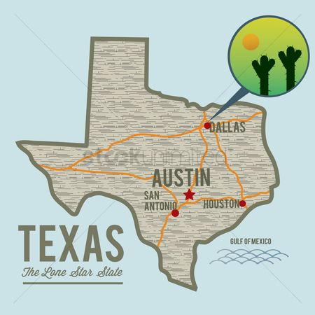 Cactus : Texas state map