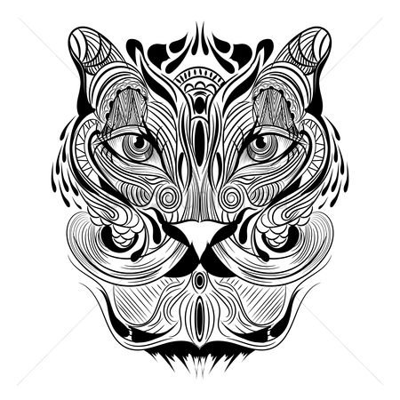 Head : Tiger monochrome design