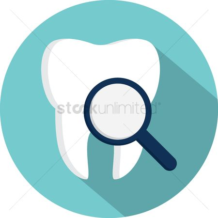 Dentist : Tooth with magnifying glass