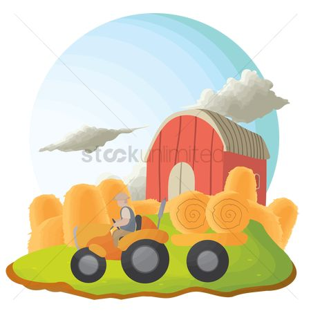 Straw : Tractor carrying hay bales in a farm