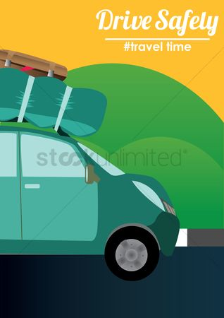 Vintage car : Travel concept poster with car
