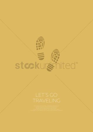 Touring : Travel concept poster with footprints
