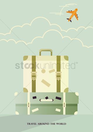 Touring : Travel concept poster with suitcases