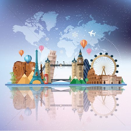 Wheel : Traveling the world concept
