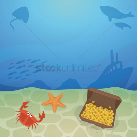 Starfishes : Treasure chest on seabed