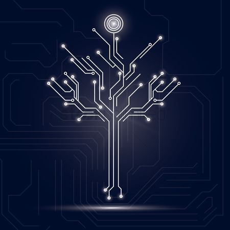 Hardwares : Tree design on circuit board background