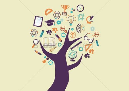 Learn : Tree with education icons