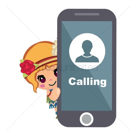 Calling : Tribal girl with cell phone