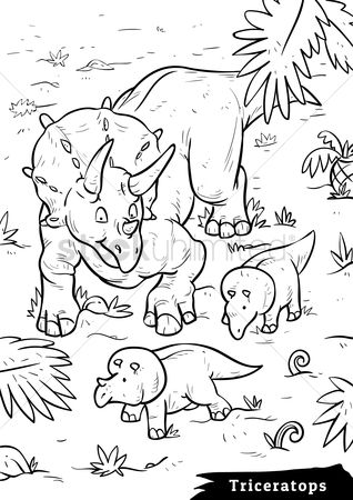 Sketching : Triceratops with hatchlings