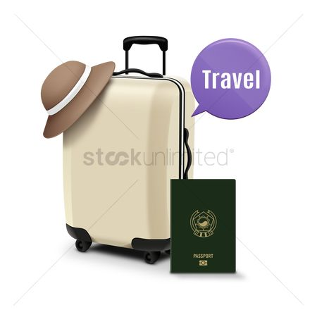 Trolley : Trolley bag with passport and speech bubble