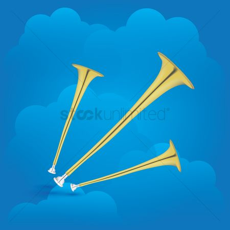 Trumpets : Trumpets on cloud background