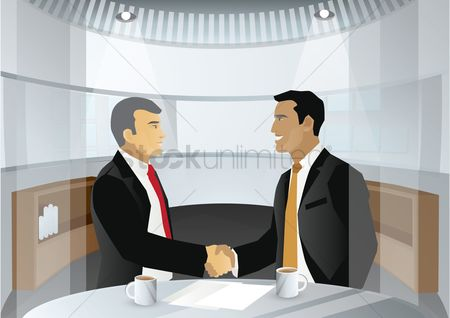 Business deal : Two businessmen shaking hands