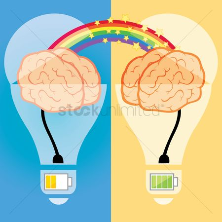 Mechanicals : Two connected bulbs with brain